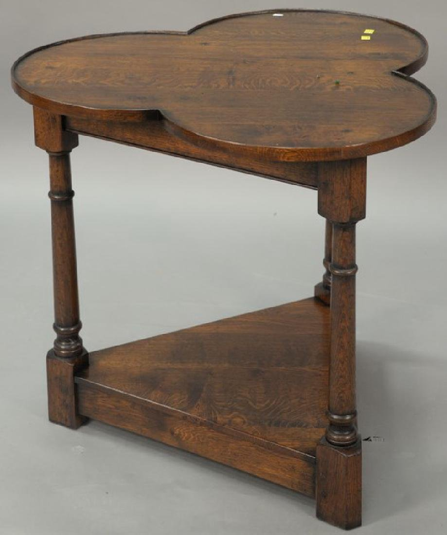 Custom oak triangle stand with clover top, possibly