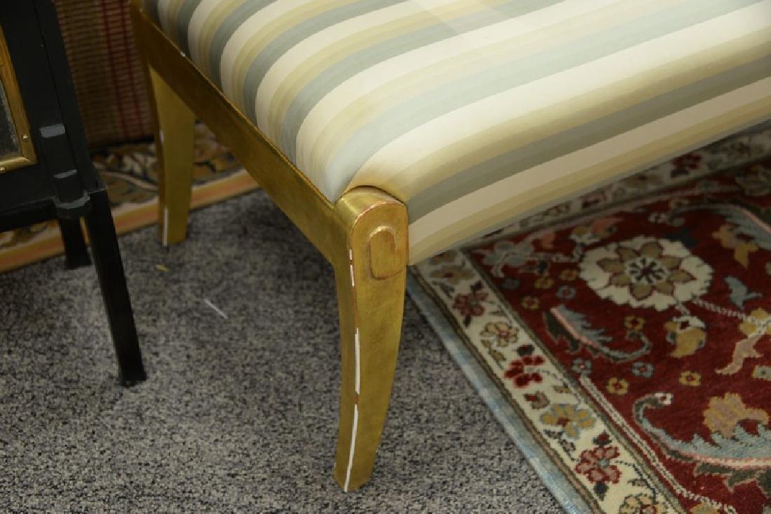 J. Robert Scott custom upholstered bench with gilt legs - 3
