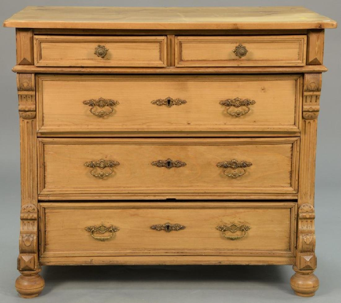 Pine two over three drawer chest. ht. 32 1/2in., top: