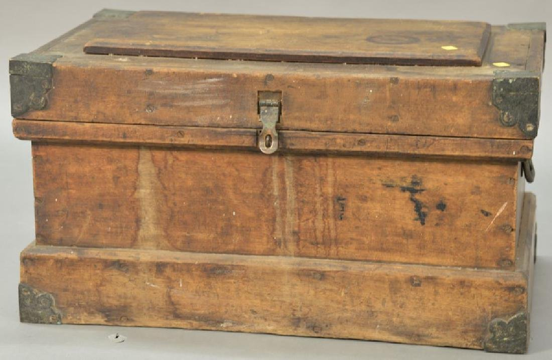 Early hardwood tool chest with brass bound corners. ht.