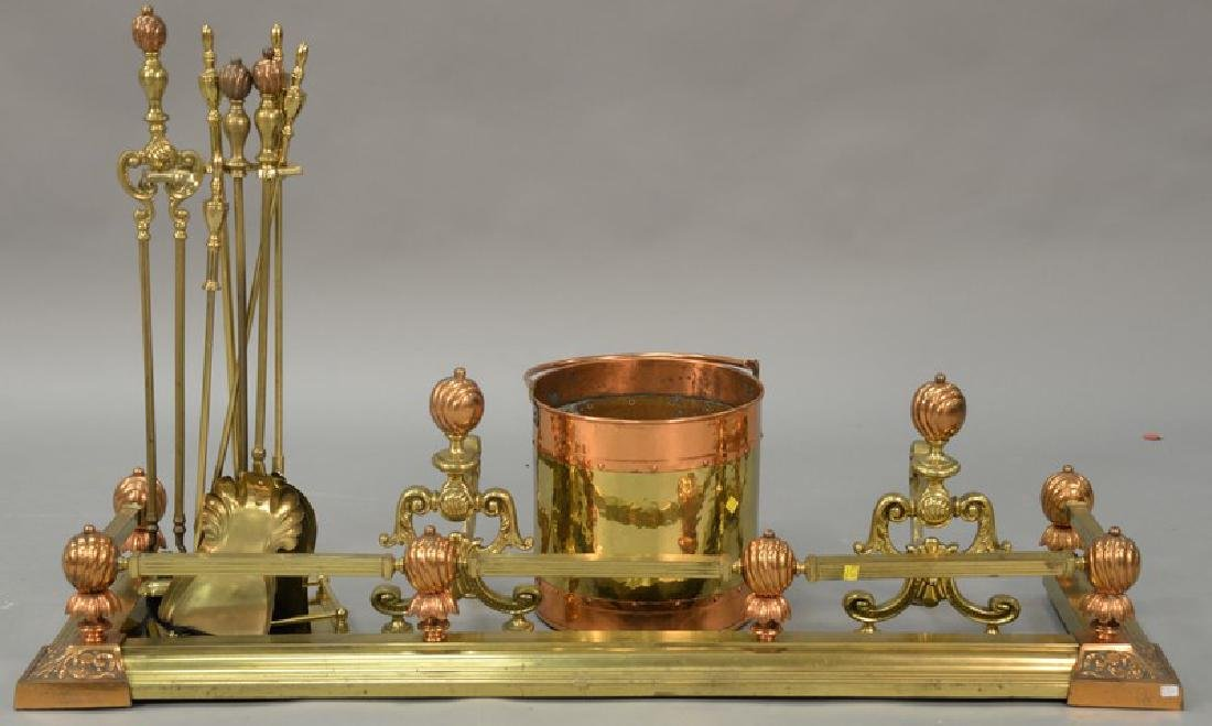 Copper and brass fireplace set to include andirons,