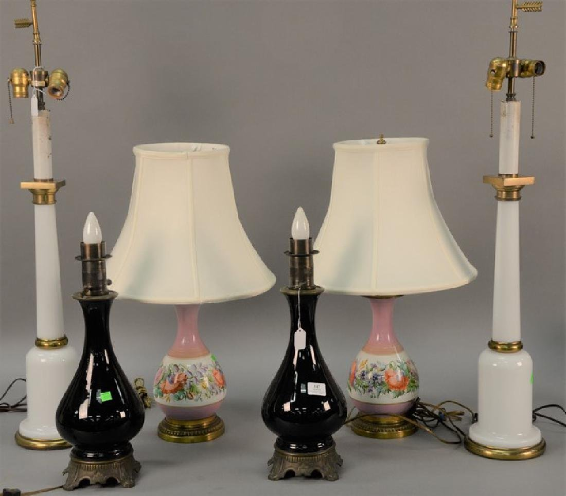 Three pairs of table lamps including pair of tall