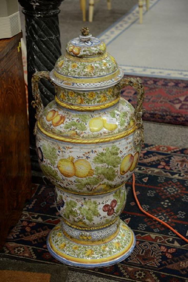 Pair of large Italian Majolica covered urns with - 2