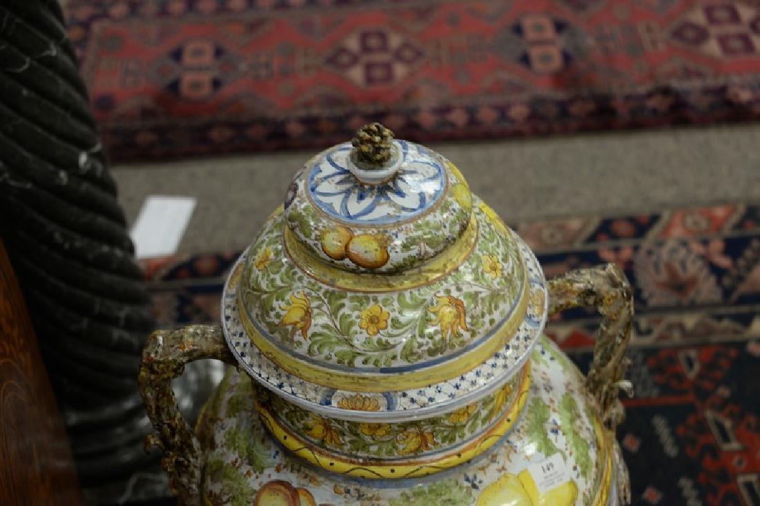Pair of large Italian Majolica covered urns with - 3