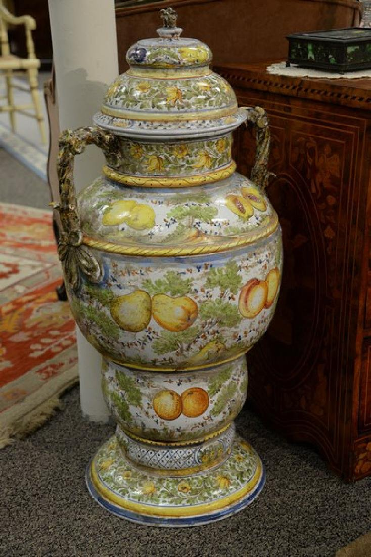 Pair of large Italian Majolica covered urns with - 4