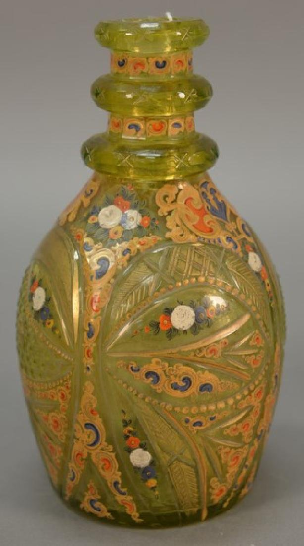 Bohemian vaseline glass decanter with gilt and enamel