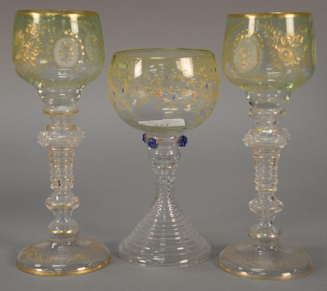 Pair of Venetian etched stemmed glass (ht. 8in.) and a