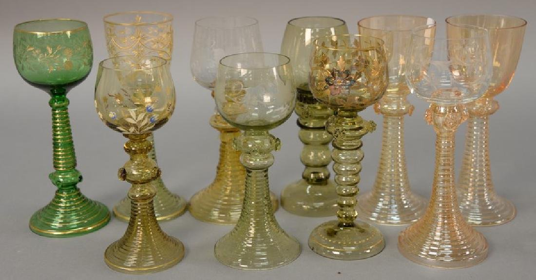 Group of ten Venetian art glass stem glasses with twist