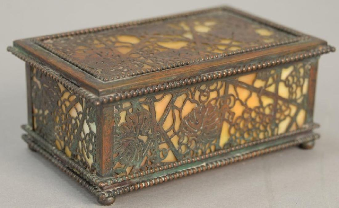 Tiffany Studios desk box, grape vine pattern with