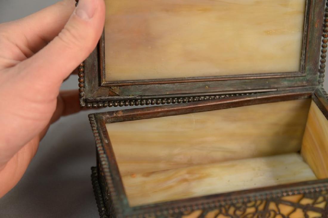 Tiffany Studios desk box, grape vine pattern with - 2