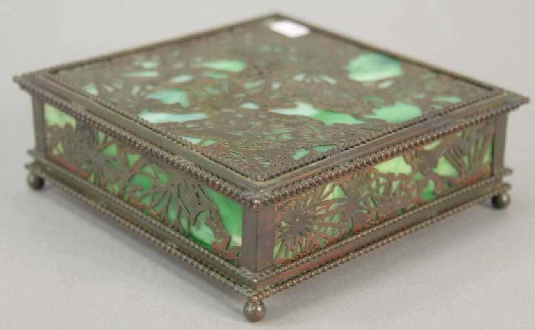 Tiffany Studios desk box, pine needle pattern with
