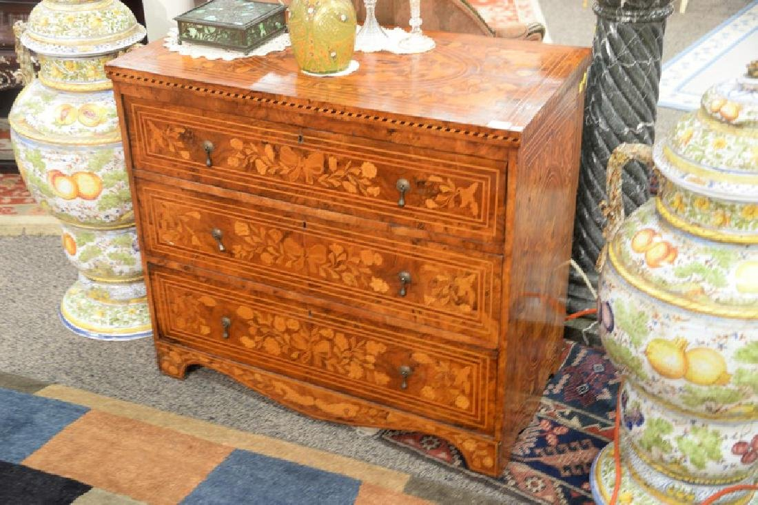 Continental marquetry inlaid three drawer chest, top - 2