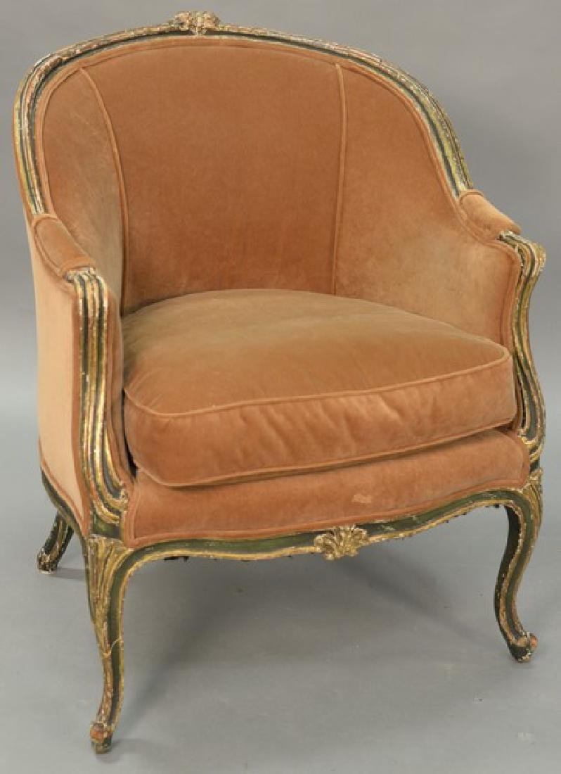 Louis XV style bergere in old finish.