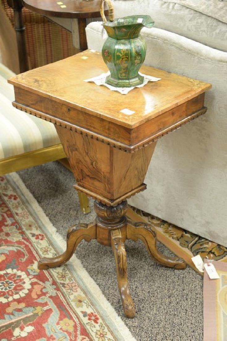 Inlaid burlwood sewing stand with lift top and fitted - 2