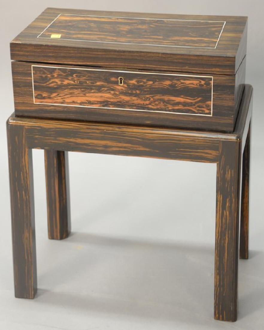 Lap desk, exotic wood on stand, total ht. 20in., top: