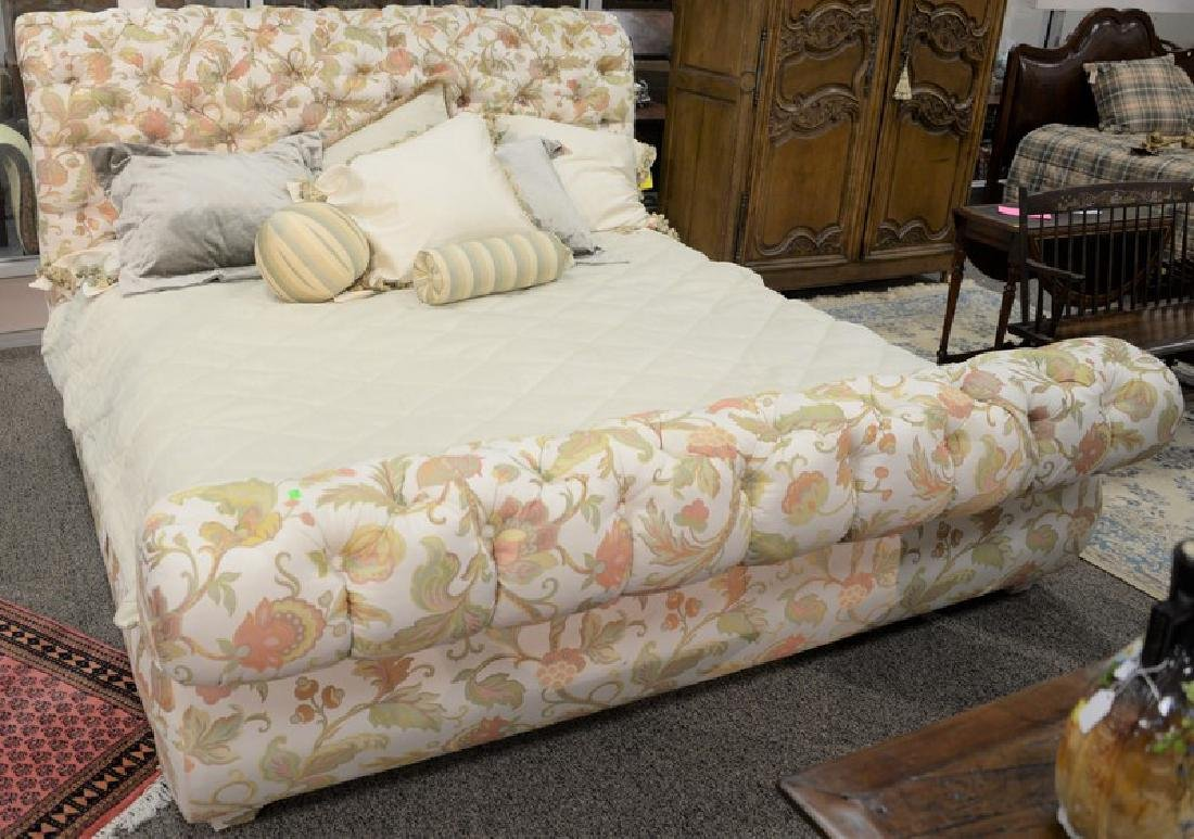 Custom upholstered and tufted king size bed, head,