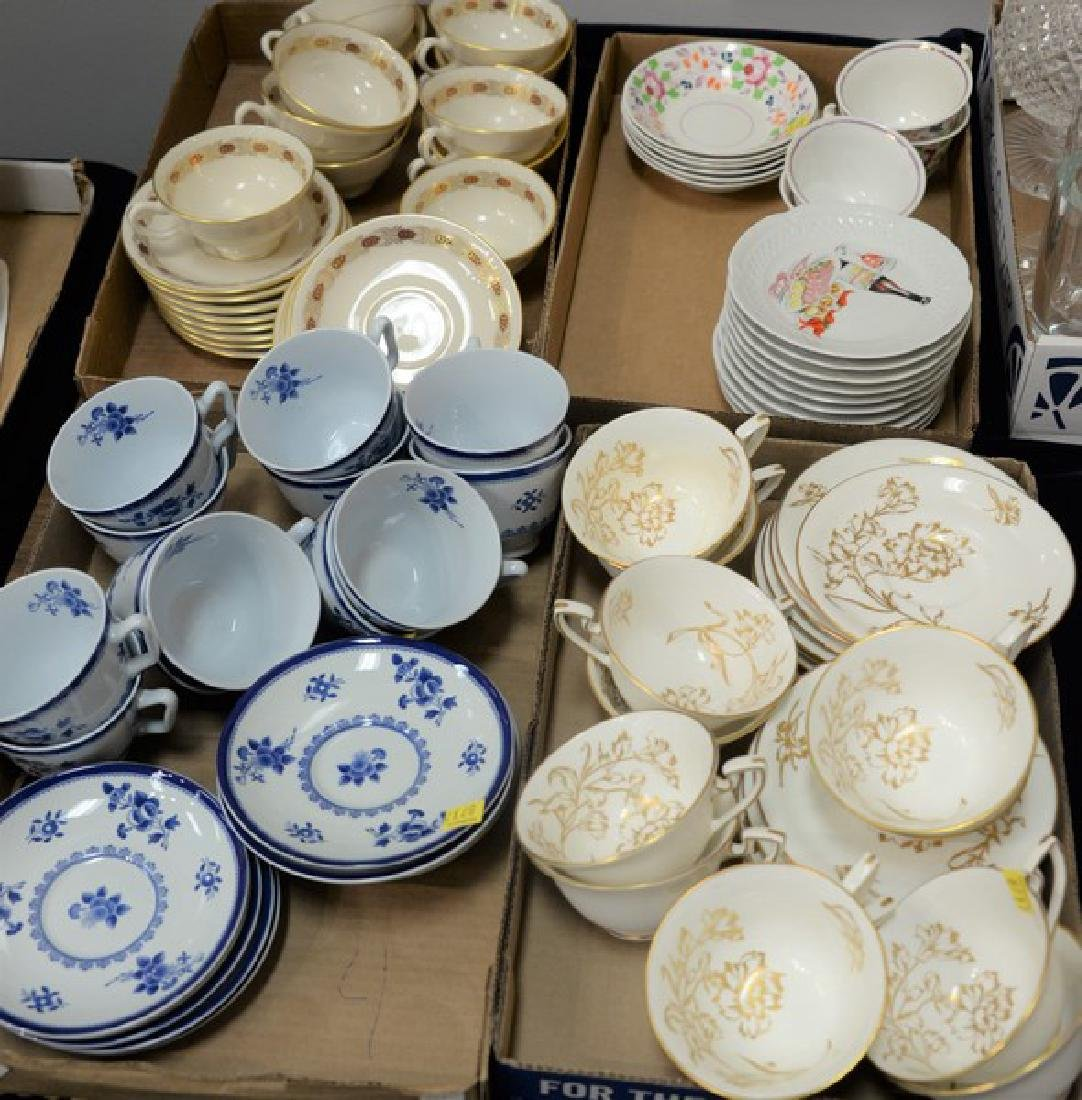 Four box lots of cups and saucers including porcelain