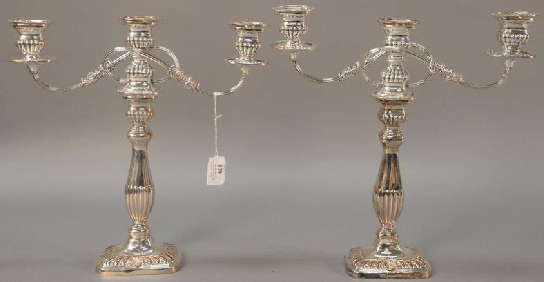 Pair of Sheffield silverplate candelabra. ht. 14in.,