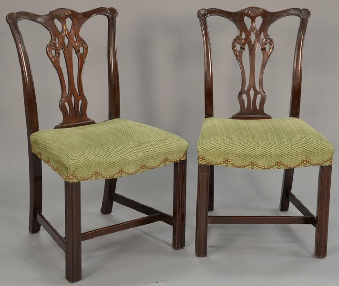Set of six mahogany Chippendale style dining chairs.