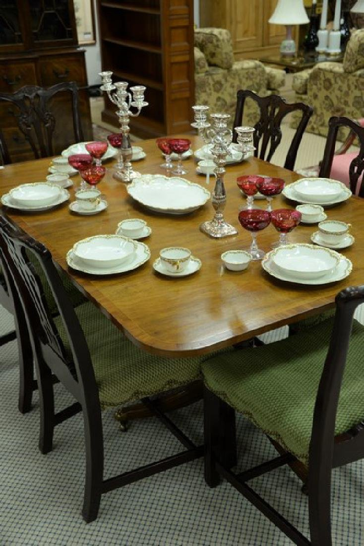 Mahogany double pedestal dining table having banded - 2