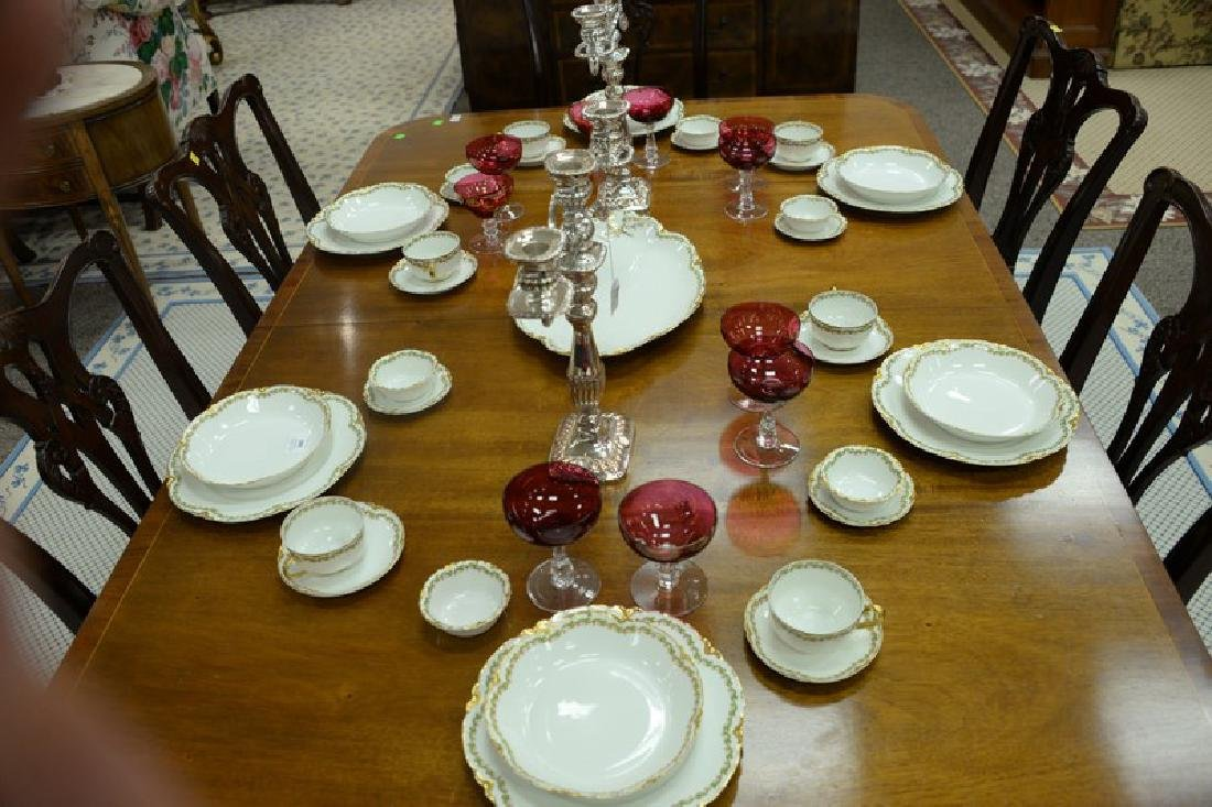 Mahogany double pedestal dining table having banded - 4