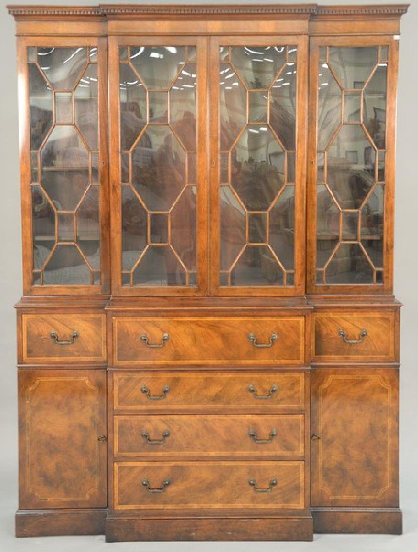 Mahogany two part breakfront with glazed doors and