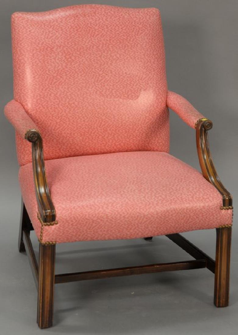Mahogany Chippendale style upholstered armchair.