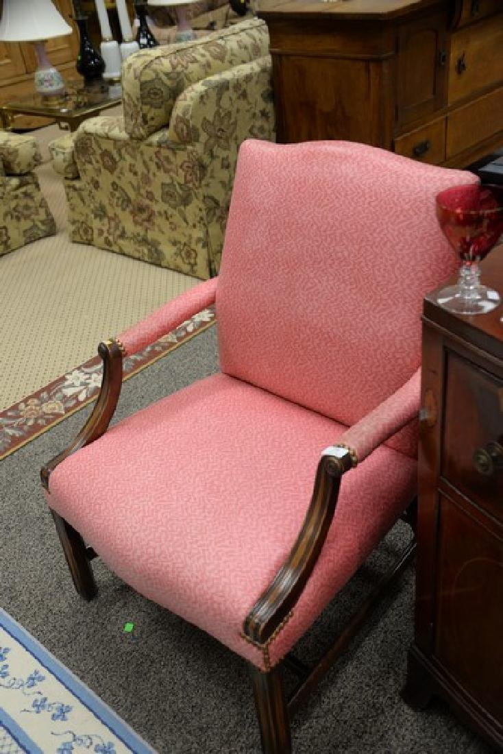 Mahogany Chippendale style upholstered armchair. - 2