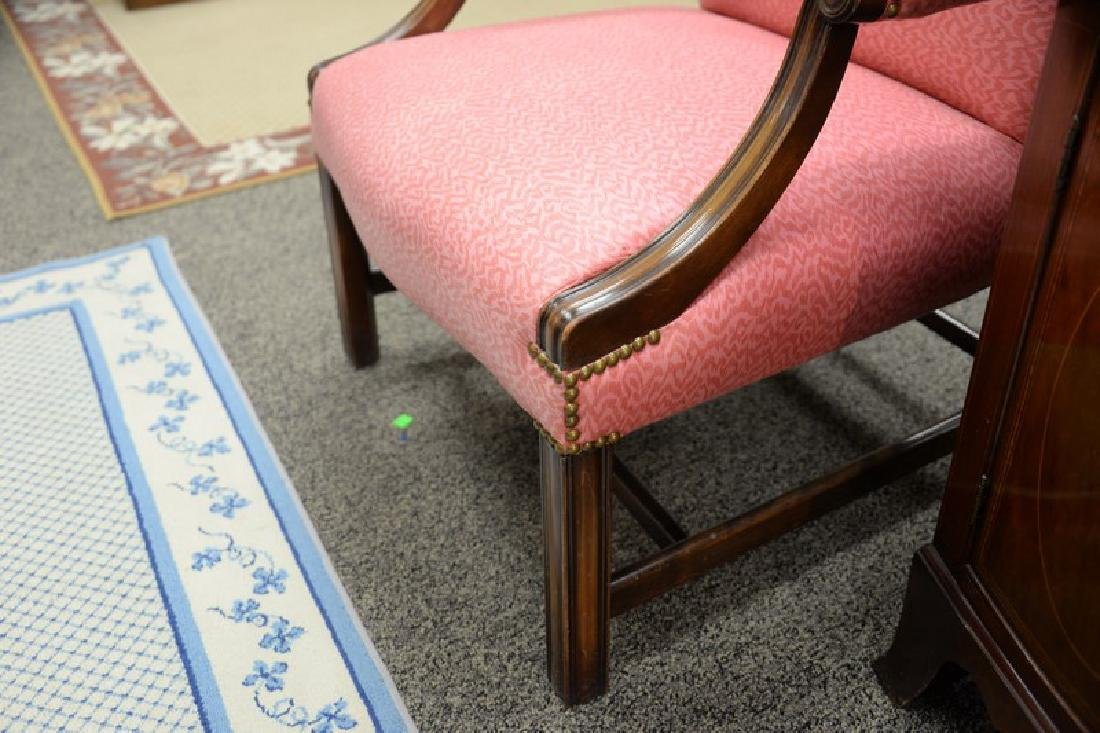 Mahogany Chippendale style upholstered armchair. - 3