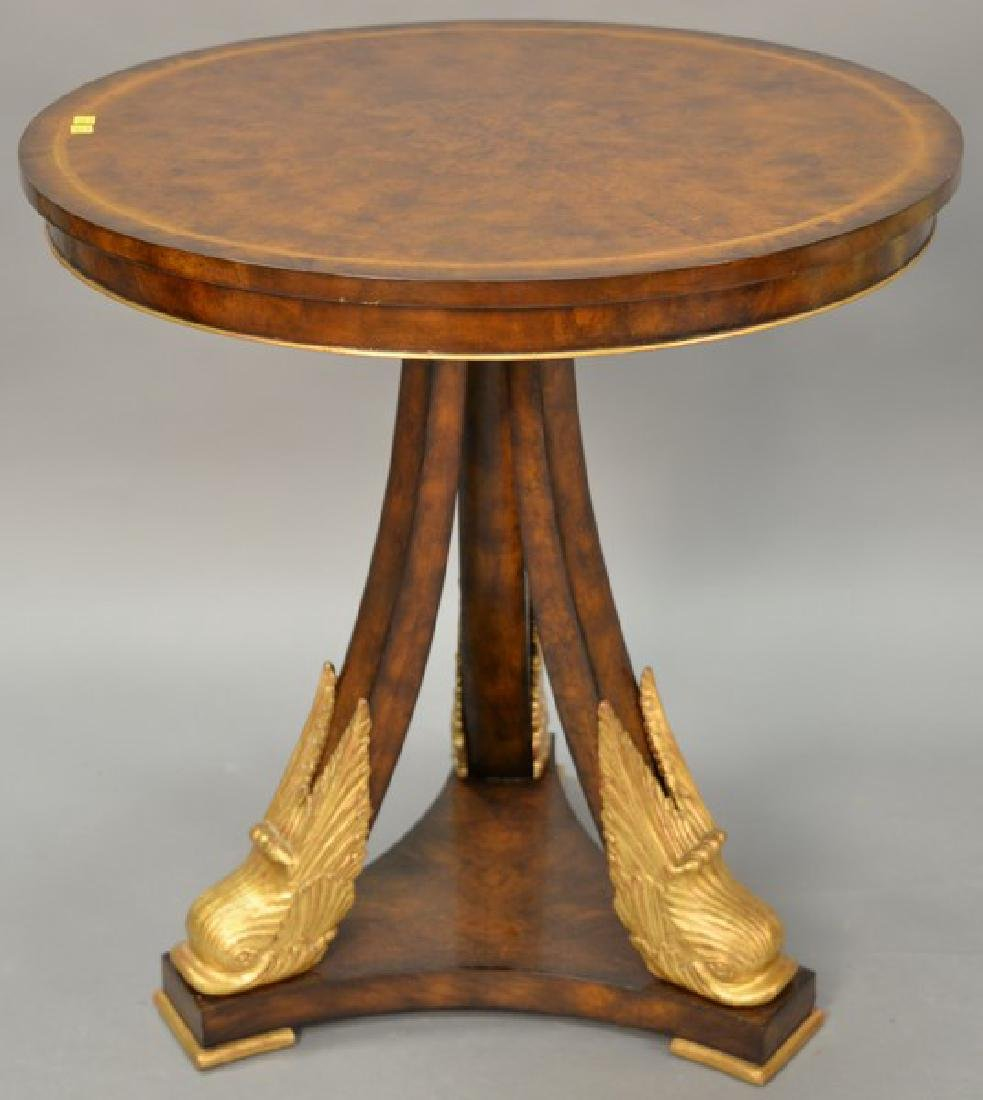 Maitland Smith round side table with dolphin head base.