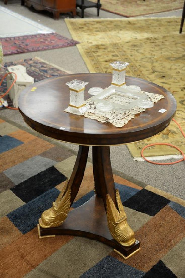 Maitland Smith round side table with dolphin head base. - 2