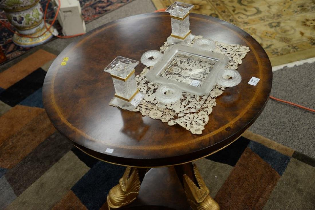Maitland Smith round side table with dolphin head base. - 4