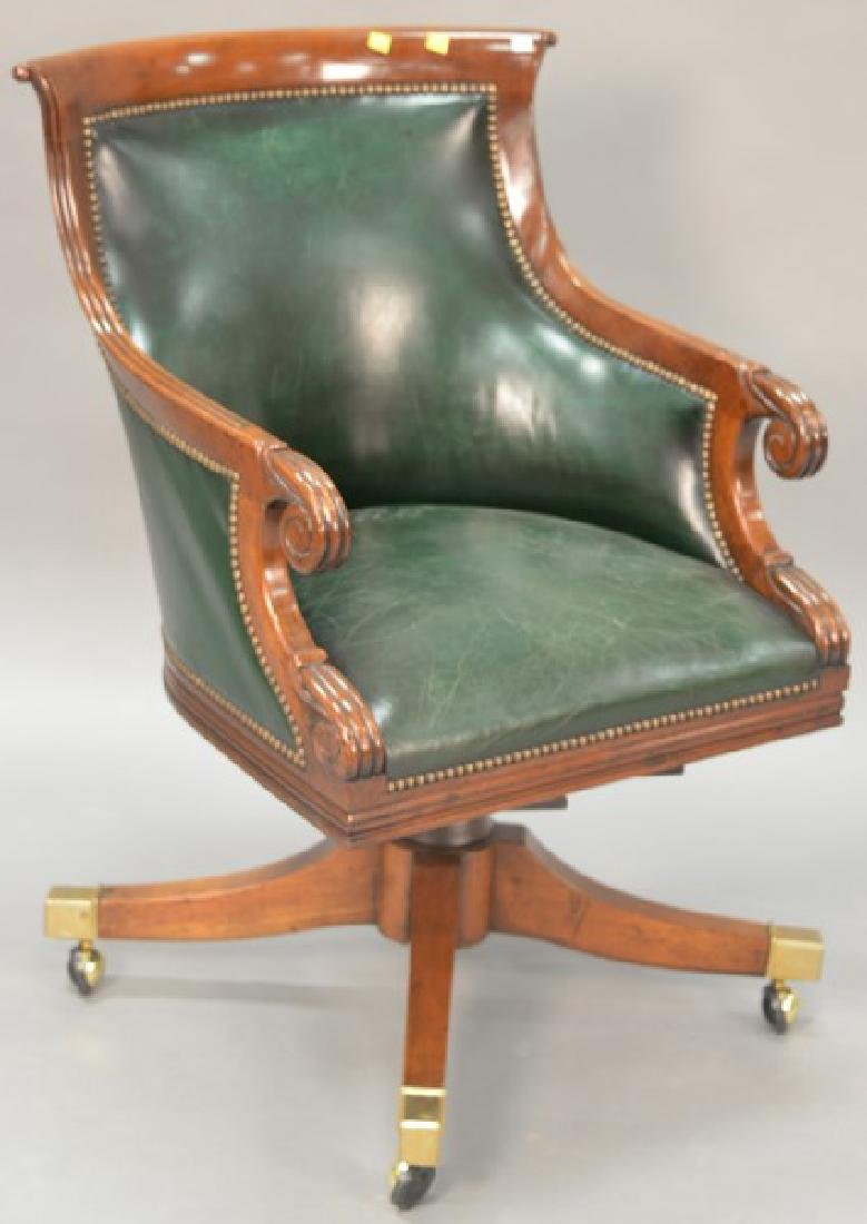 Federal style mahogany leather executive office chair.