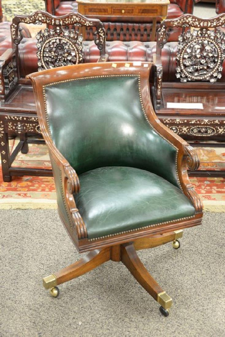 Federal style mahogany leather executive office chair. - 2