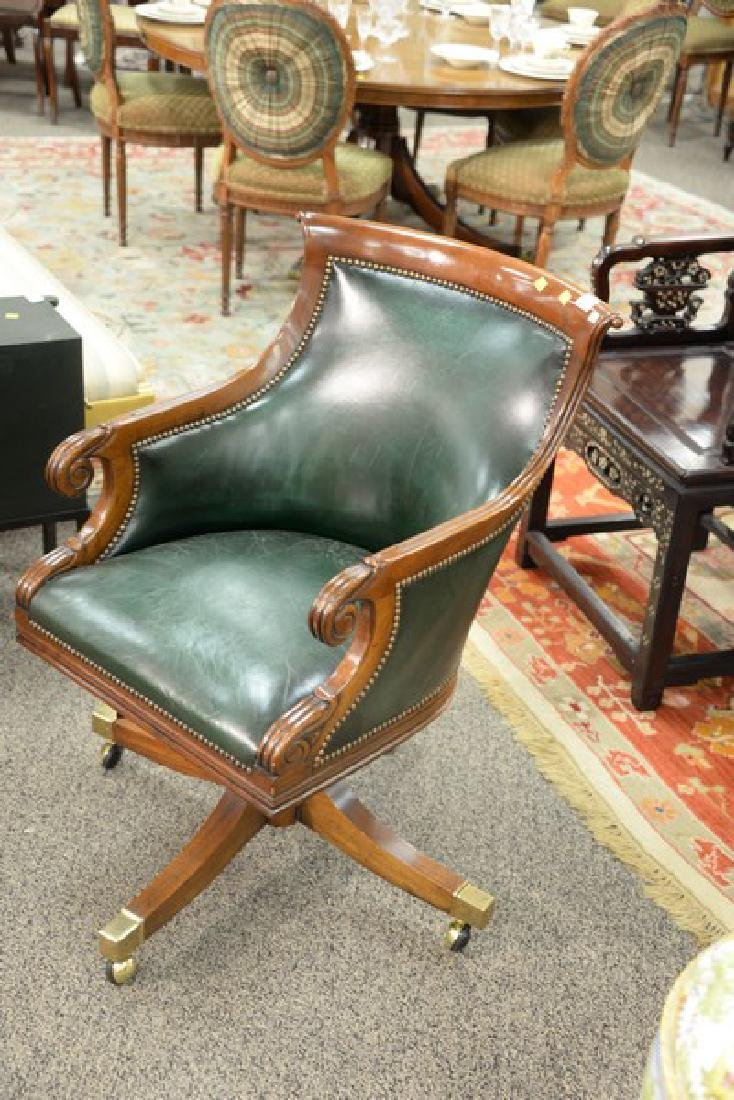 Federal style mahogany leather executive office chair. - 3