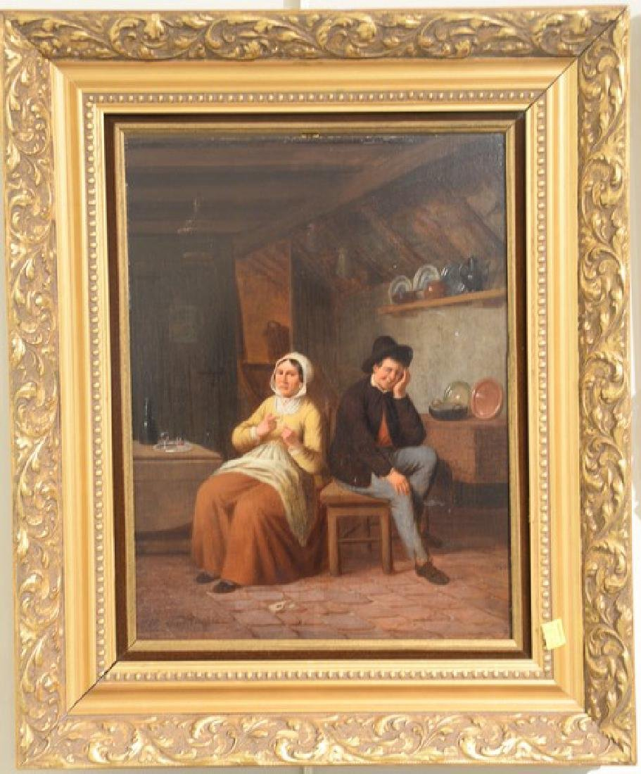 Oil on panel Dutch interior scene with a man and woman,