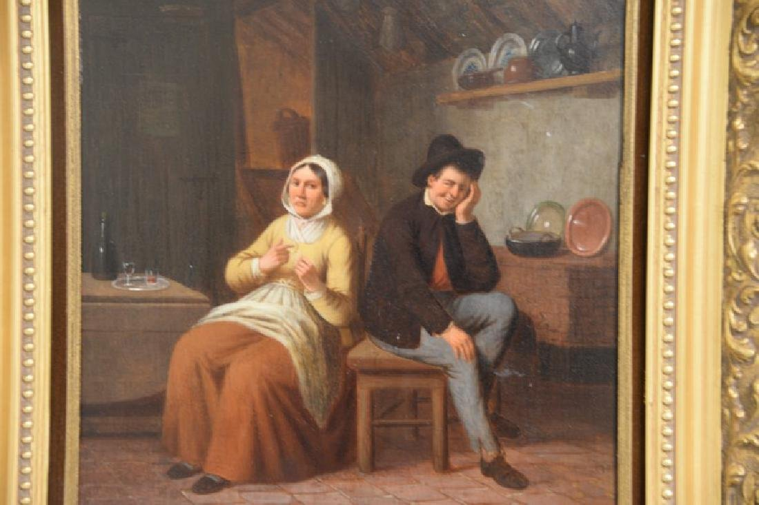 Oil on panel Dutch interior scene with a man and woman, - 2