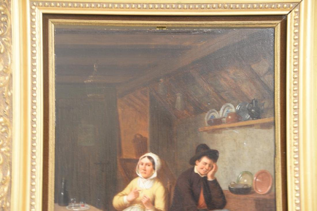 Oil on panel Dutch interior scene with a man and woman, - 3