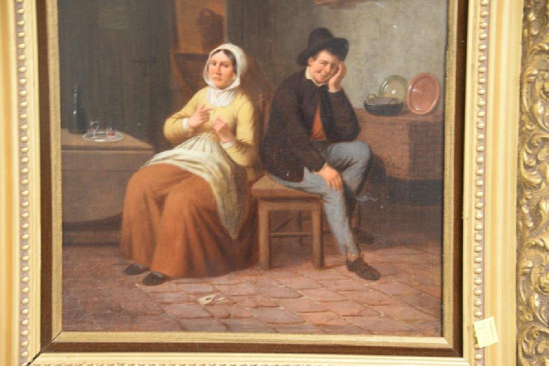 Oil on panel Dutch interior scene with a man and woman, - 4