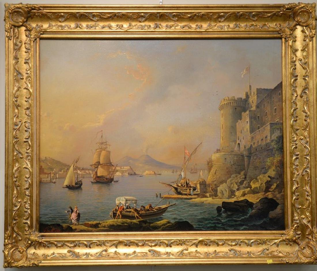 Giuseppe De Winter, oil on canvas, Rome Harbour, signed