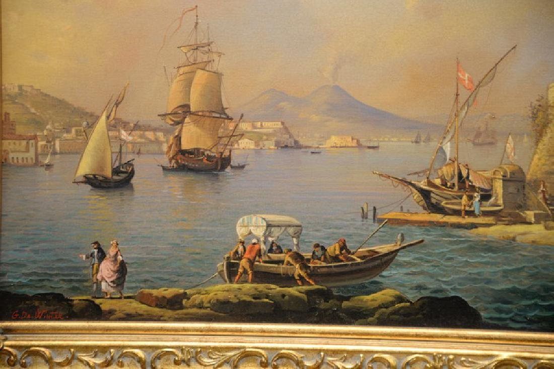Giuseppe De Winter, oil on canvas, Rome Harbour, signed - 5