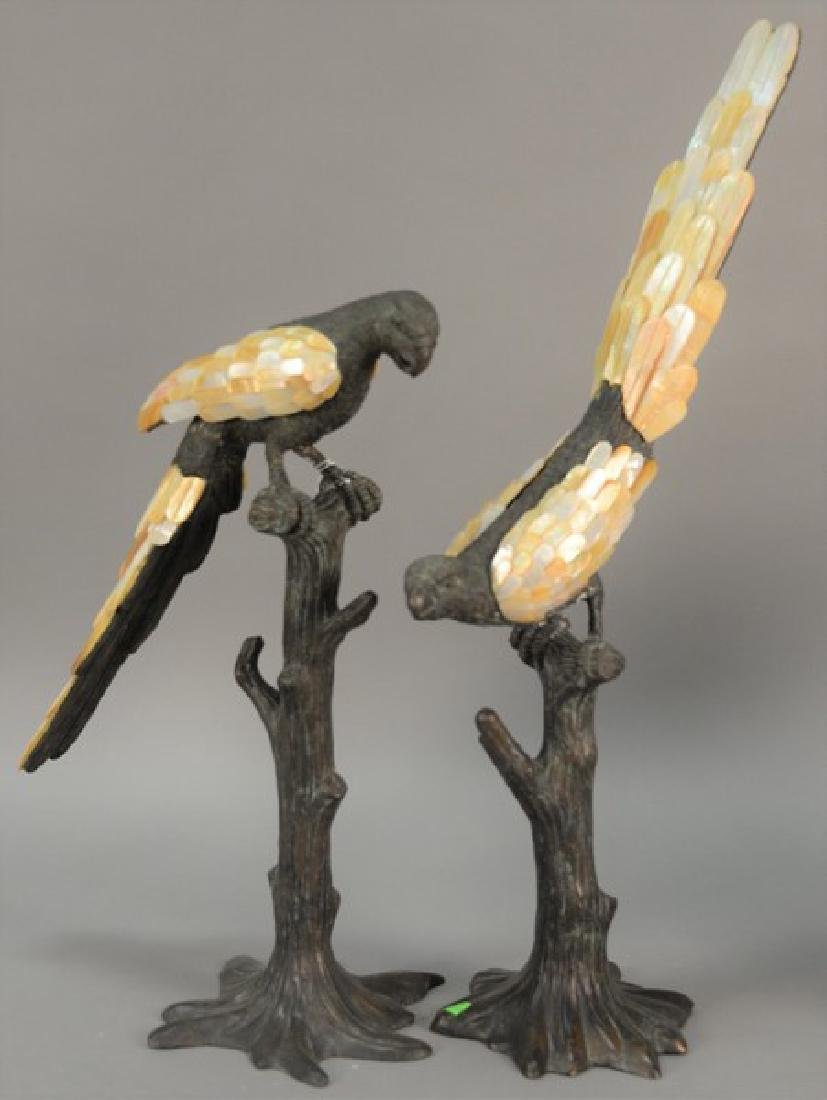 Pair of Maitland Smith Verdi bronze and mother of pearl