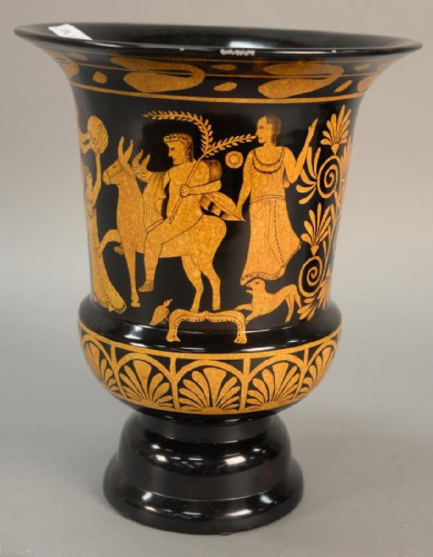Maitland Smith porcelain urn, hand painted Greek