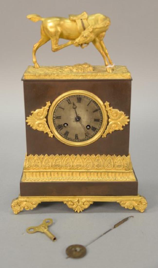 French Empire gilt bronze clock, 19th century having