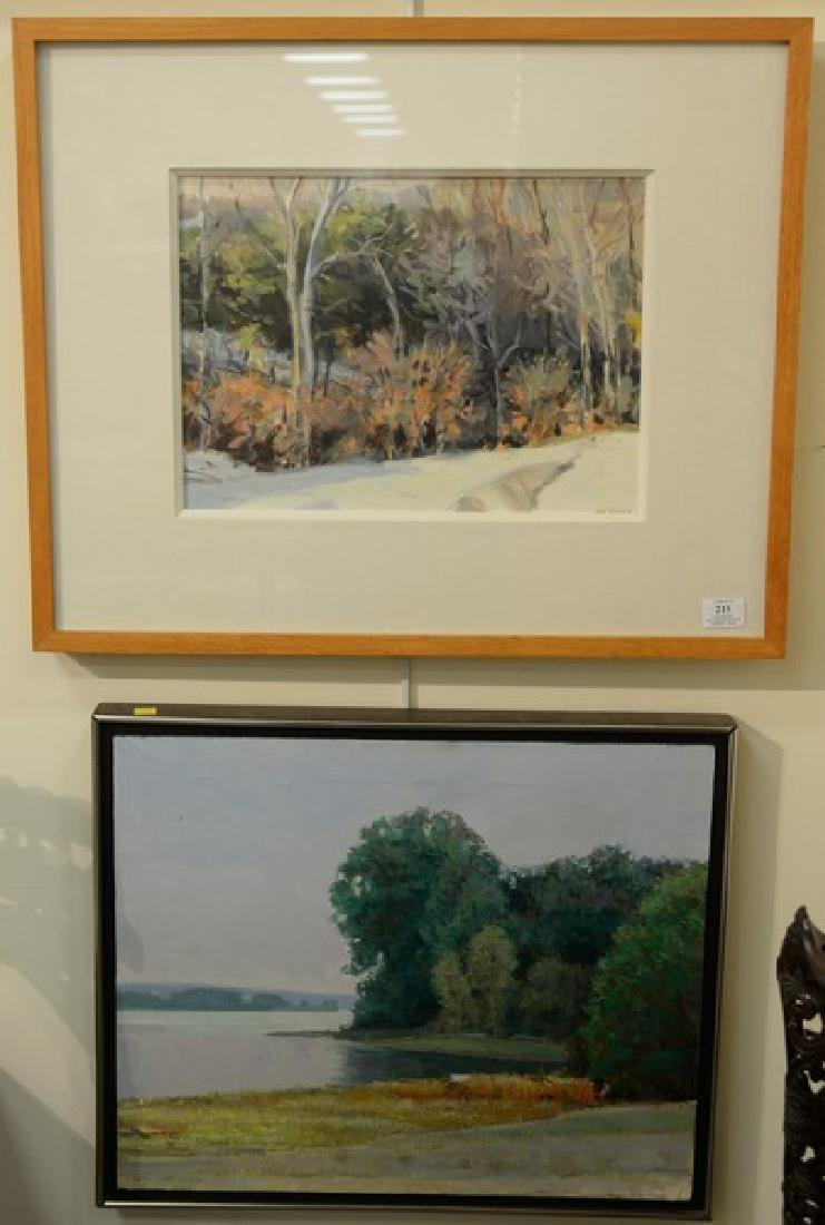 Three framed paintings including Ella Delyanis, pastel,
