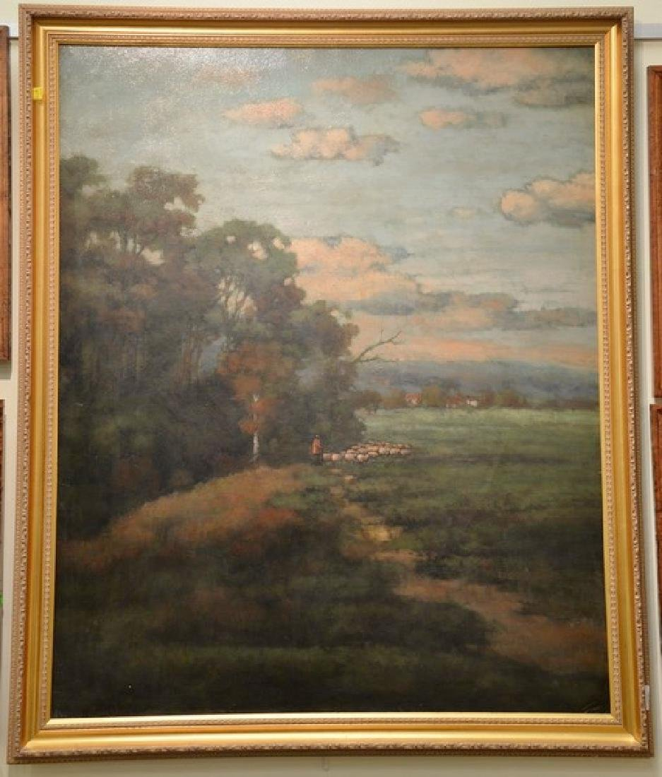 Oil on canvas, landscape with shepherd and his flock,