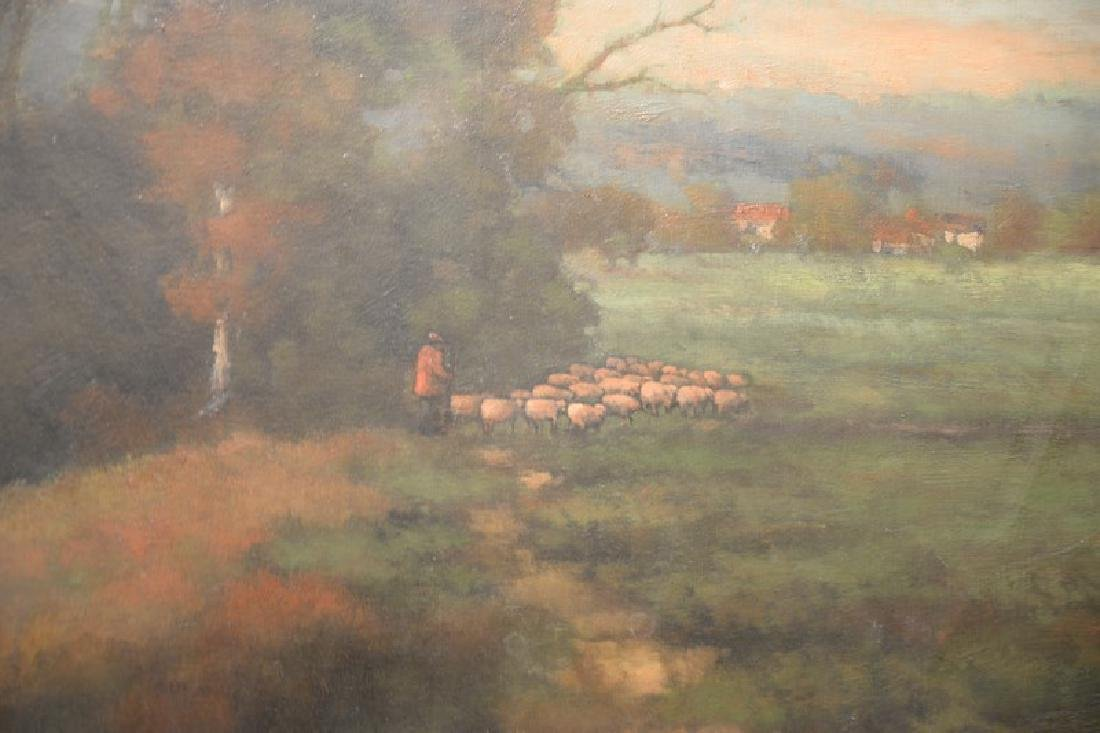 Oil on canvas, landscape with shepherd and his flock, - 2