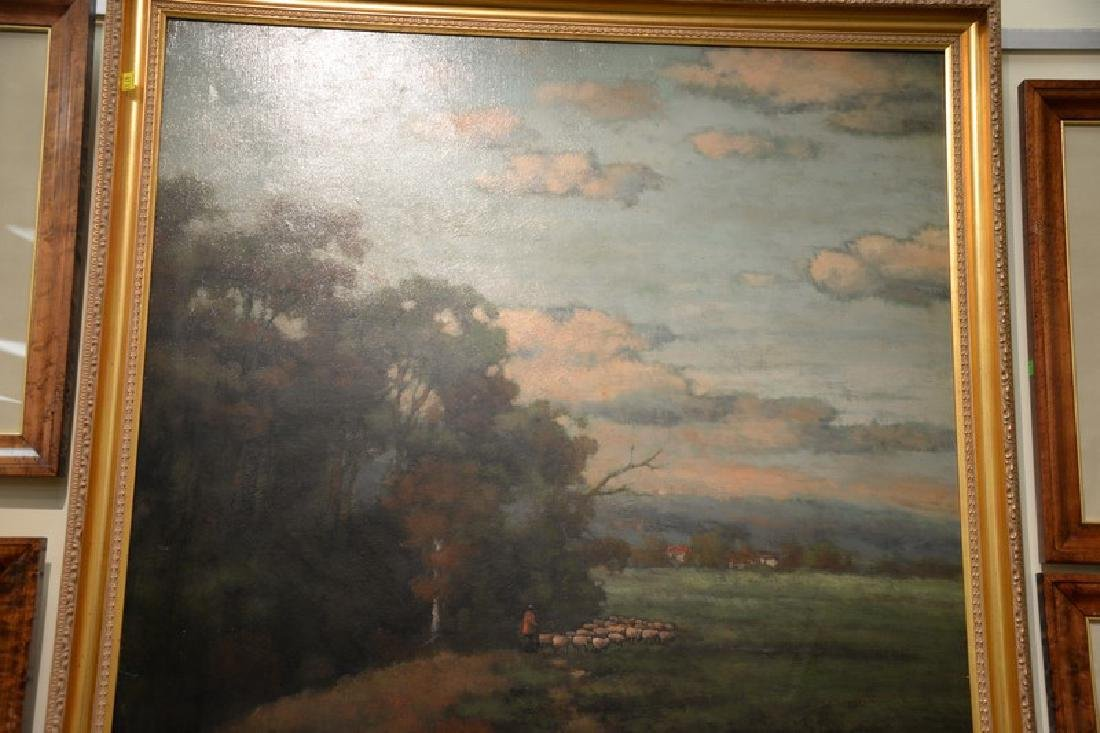 Oil on canvas, landscape with shepherd and his flock, - 3