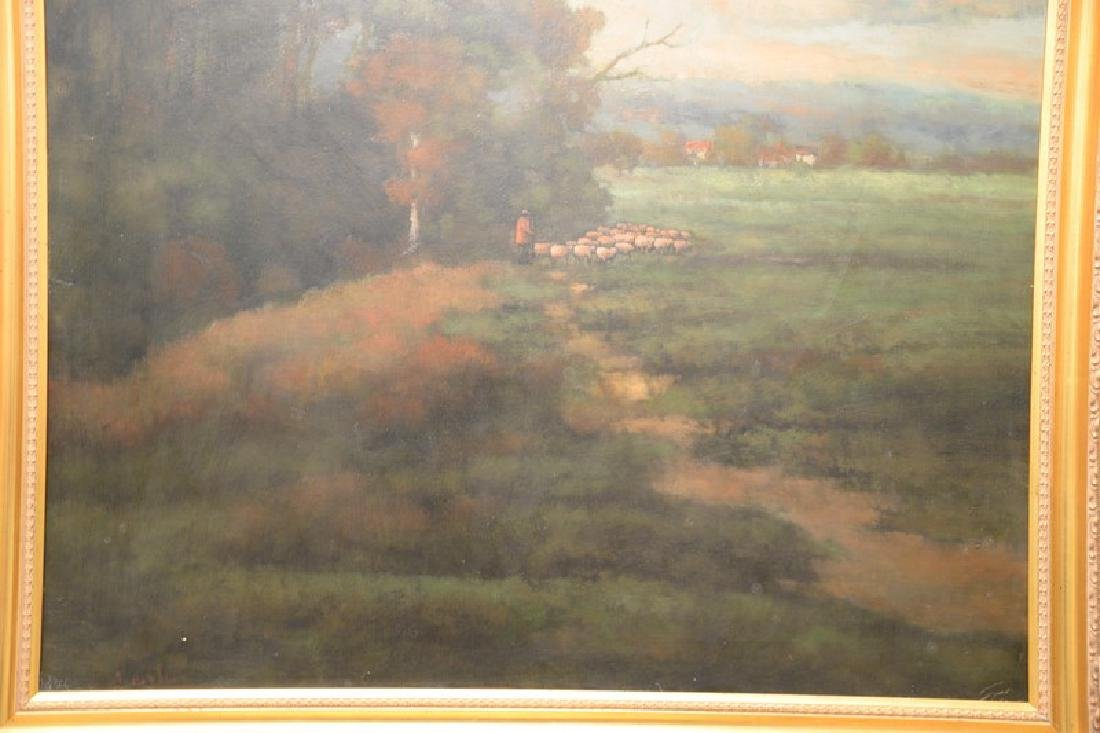 Oil on canvas, landscape with shepherd and his flock, - 4