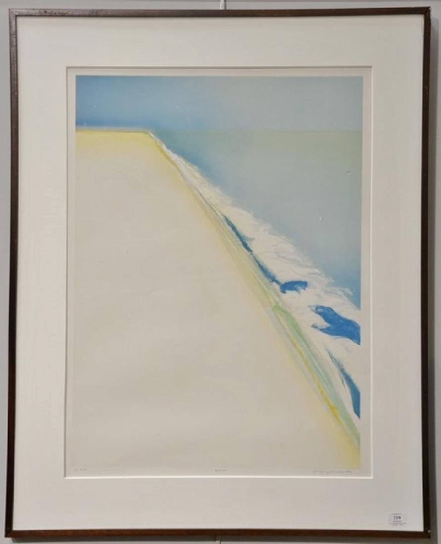 "Gregory Kondos (b1923), colored lithograph, ""Beach"""